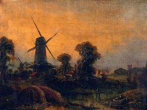 River Landscape With Windmills