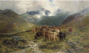Highland Cattle And Drovers In A Valley