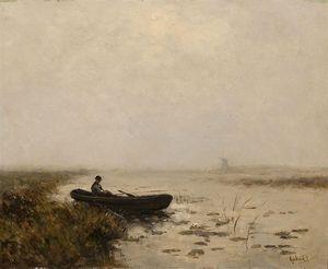 Fisherman In His Boat In A Polder Landscape