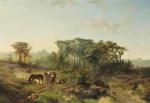 Travellers Resting In A Summer Landscape