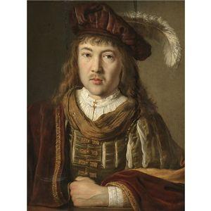 ein porträt von einem jungen mann in Ein Samt mantel und Gefiedert Hut