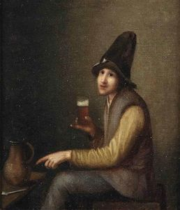 A Young Man Holding A Glass Of Beer, A Pipe And A Jug On A Table