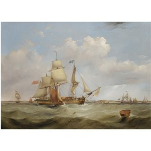 A Merchant Ship, Hove To, Off The Mouth Of The Mersey