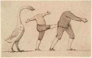 Une oie et deux hommes sans tête