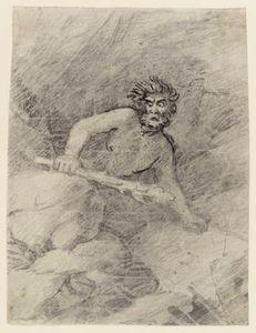 A Man With A Club, Amid Rocks