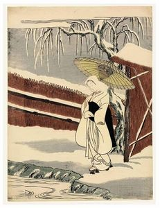 Beauty Under An Umbrella In The Snow