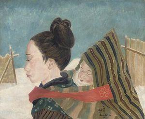 Jeune Femme D'akita Et Son Enfant