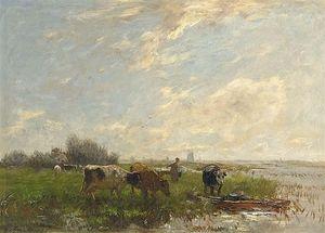 a sommer landschaft mit  rinder  und  windmühlen