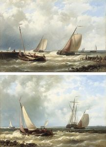 Dutch Fishing Boats In A Harbour Entrance