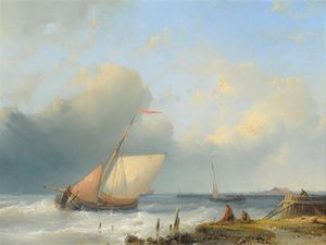 Fishing Boats In A Dutch Estuary With Figures Drying Nets In The Foreground