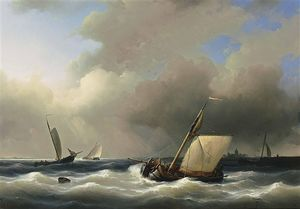 Shipping Off The Shore In High Winds