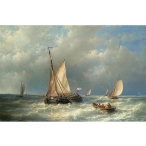 Stormy Sea With Ships
