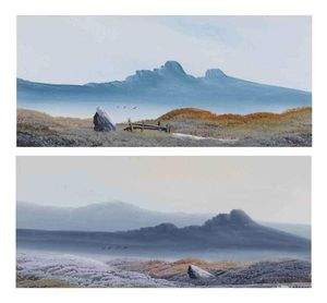 Two Moorland Landscapes With Mountains Beyond
