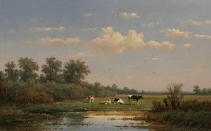 A Dutch Pasturage With Cattle