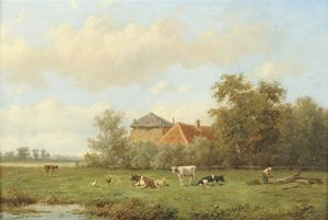 Cattle And Sheep Grazing In A Meadow, A Figure Chopping Wood