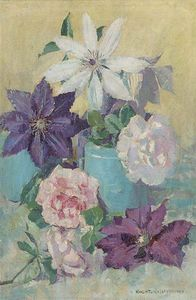 Clematis And Peonies In A Vase