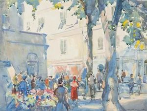 Flower Sellers In A French Market Square