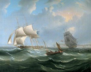 Stormy Sea Scene With Sailing Ships