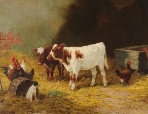 Calves, Chickens And Dogs In A Stable Interior