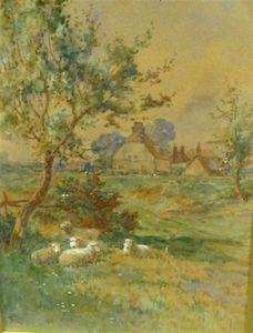 Moutons de repos par une piste, une ferme-delà