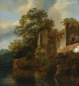 A Figure Standing By A Stone House Along A River