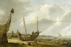 Coastal Landscape With Fishermen Near Their Boat On The Beach