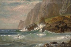 Waves Crashing Against A Rocky Cove