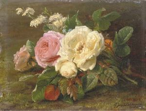 A Bunch Of Pink And White Roses