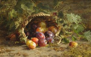 Still Life With Prunes On A Forest Ground