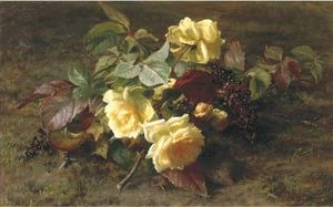 Yellow Roses And Elderberries On A Forest Floor