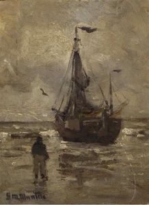 A Bomschuit On The Beach On A Grey Day