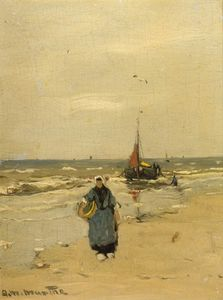 A Fisherwoman On The Beach Of Katwijk