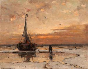 Anchored Barge At Dusk