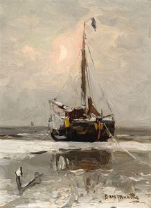 Barge On The Beach At Dusk