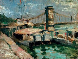 Ships On The Danube At The Pillar Of The Chain Bridge
