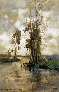 Fisherman In Polder Landscape