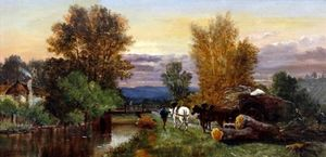 Horse And Cart On Riverside Towpath