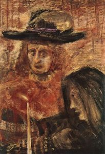 Man With Hat And Woman With Black Scarf
