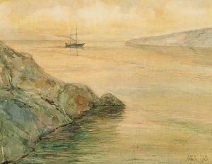 Coastal Scene With A Brig In Calm Weather.