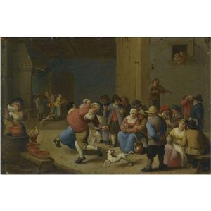 A Tavern Interior With Drinking And Dancing Peasants