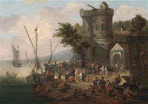 A Lively Coastal Landscape With A Fortress And A Harbour In The Background