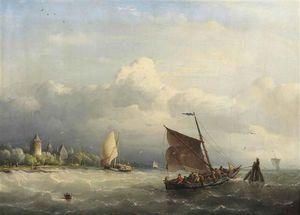 A Fishing Boat Mooring In Choppy Waters