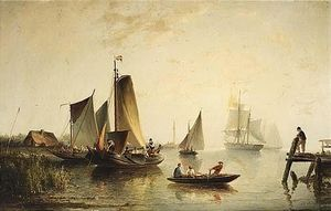 A River Landscape With Sailing Vessels