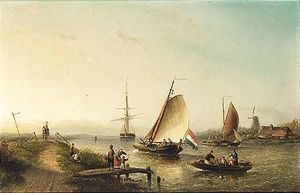 A River Scene With Sailing Vessels And Figures On A Riverbank