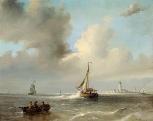 Men In A Barge And Sailing Boats Off A Coast