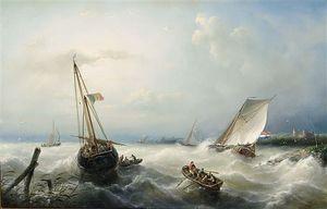 Sailing Vessels On A Choppy Sea
