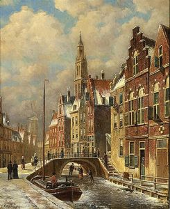 Skaters On A Canal In A Dutch Town