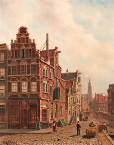 View Of The City Of Delft With The Oude Kerk