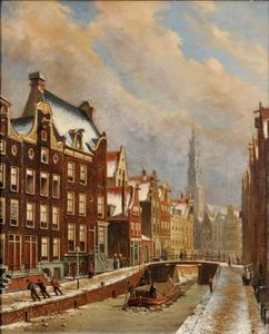 Winter Scene In Amsterdam With Zuide Kirk In The Distance