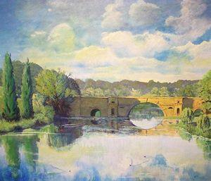 Blenheim Palace Bridge In Summer Time